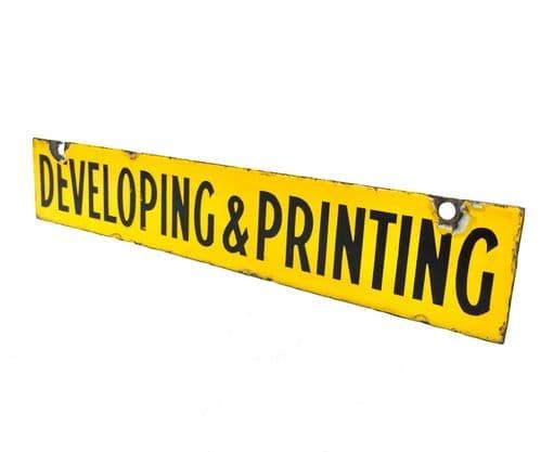 Antique Shop Display Enamel Advertising Sign Developing & Printing Kodak Photos